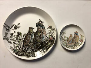 """Vintage GAME BIRD Dinner Plate RUFFED GROUSE by Johnson Brothers England 8"""" & 4"""""""