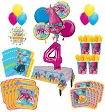 Trolls Poppy 4th Birthday Party Supplies 16 Guest Kit and Balloon Bouquet