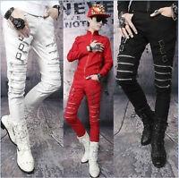 Mens Koreans Punk Buckle Trousers Zipper Slim Fit Nightclub Fashion Pants Size