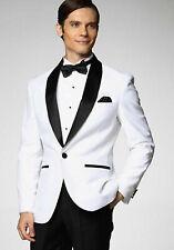 Hombre Blanco y Negro Trajes de Diseño Boda Cena Esmoquin (Abrigo+Pantalones)