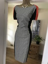 BNWT £160 Karen Millen stretchy multicolour striped summer cocktail dress 16