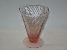 MONONGAH GLASS CO. ---  PINK SPIRAL OPTIC FOOTED GOBLETS (4),  # 6102