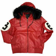 Hot Men's Stylish Bomber style Robert Phillipe 8 Ball logo Jacket with Fur Hood