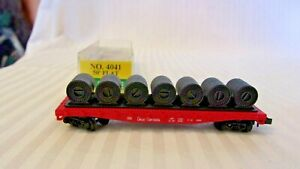 N Scale Model Power Great Northern 50' Flat Car With Load, Red #4041