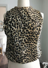 MOD Vintage 1960s Faux Cheetah Fur PLUSH Sleeveless TOP Cropped Lined 32