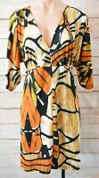Charlie Brown Dress Size 8 Small Orange Brown Black blouson Shift Dress