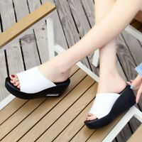 Women's Casual Open Toe Wedge Heel Slippers Slip On Shoes Platform Mules Sandals