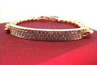 18K Yellow gold GF Solid Lab Created diamond Tag  Women's bracelet 6.7' 17cm