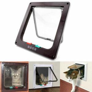 4 Way Small Medium Large Pet Cat Dog Lockable Safe Plastic White Frame Flap Door