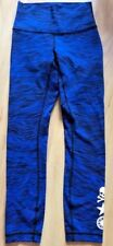 LULU LEMON SOULCYCLE High Times Pant sz 2 Painted Animal Sprinkler Blue EUC Run