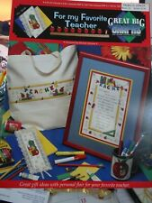 """Counted Cross Stitch Pattern """"For My Favorite Teacher"""" by Great big Graphs  new"""