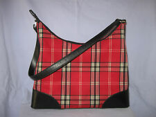 Lord And Taylor Purse Red Plaid Satchel Style With Black Trim