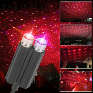 1x USB LED Car Roof Atmosphere Star Projector Night Light Accessories Blue+Red
