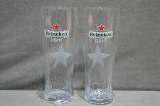 2x Heineken Light One Pint 20oz Beer Glass Frosted Glass Star New M16 VERY RARE