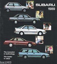 1989 Subaru Brochure/Catalog: XT,JUSTY,GL,Station Wagon,L,LS,4WD,GL-10,Coupe,RX,