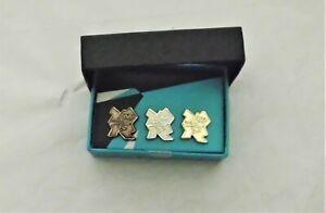 Olympics London 2012 Mini Logo Gold, Silver Bronze Presentation Pin Box Set
