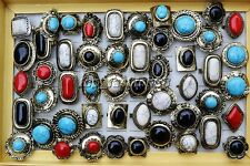 Wholesale 25Pcs Mix Colourful Big Natural Turquoise Gemstone Tibet Antique Rings