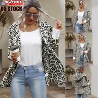 Women's Leopard Zip Up Hoodies Coat Casual Jacket Ladies Hooded Sweatshirt Tops