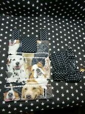 Dog walking  treat and  poo bag holder handmade photo dogs  100% cotton