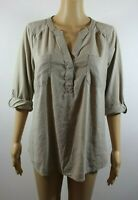 Sonoma Womens Top Size Large Beige 3/4 Tab Sleeve Pullover Blouse Casual Autumn