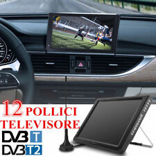 "12"" LED TELEVISORE DIGITALE ANALOGICO DVB-T / T2 HD TV PLAYER LETTORE PVR USB EU"