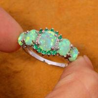 925 Silver Women Fashion Green Fire Opal & Emerald Women Gems Ring Jewelry Gift