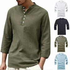 Summer Men's Linen V Neck 3/4 Sleeve Basic Tee T-shirt Tops Blouse Black S