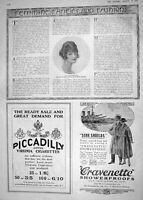 Old 1918 Beautiful Woman Hair Style Advertisement Cravenette Cigarett 20th