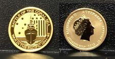 2015 WW-TWO 1942 BATTLE OF CORAL SEA 1/10  OZ .9999  PURE $15 PROOF BU GOLD COIN