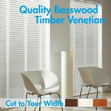 New 50mm Basswood Timber Venetian Blinds 60cm wide X 120cm drop- WHITE
