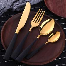 4 SETS Western Tableware Black Gold Stainless Steel Knife  Fork Coffee Spoon