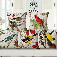 """18"""" Home Cotton Linen Car Sofa Bed Decor Waist Cushion Pillow Case Cover US Bird"""