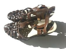 EARTHIES Size 8.5B Brown Leather Wedge Slingback Sandal Shoes