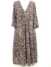 Boden Women's Dress Purple Floral Watercolor Career Work V-Neck Long Size 6L