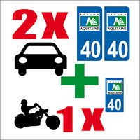 Lot 3 STICKERS 2 x AUTO+1x MOTO STYLE PLAQUE IMMATRICULATION LANDES 40