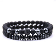 2pcs Mens Womens Charm Bead Bracelet Micro Zircon Crystal Natural Stone Jewelry