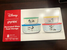 Pyrex Disney Mickey Mouse 8 Piece Set Glass Food Storage with Lids Ships Today