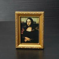 Vintage Mini Oil Painting The Smile Of Mona Lisa 1:12 Miniature Dollhouse DIY