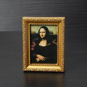 Vintage Mini Oil Painting The Smile Of Mona Lisa 1:12 Miniature Dollhouse DIY