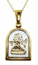 14k Two-Tone Gold 3D Cherub Angel Pendant Chain Necklace