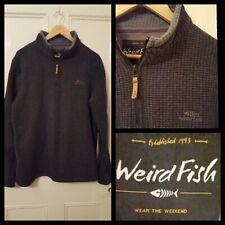 Weird Fish Mens Charcoal Grey Fleece Sweater Size M