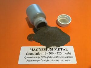 Magnesium Metal Powder 200-325 mesh (granulation 16) lab grade 99.9% pure