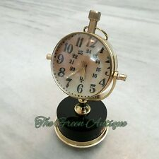 Antique Brass Vintage Desk Clock HM Mechanical Automatic Table Top Decorative