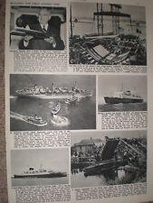 Photo article submarines USS Nautilus keel at Groton and UK XE9 midget 1952