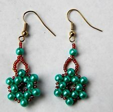 Summer Green Pearl Earrings. Handmade by Slave Violet Jewelry. Made in the USA