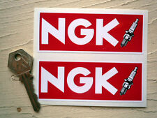 "NGK Red & Spark Plug Car STICKERS 4"" Pair Race Racing Motorcycle Bike Rally WSB"