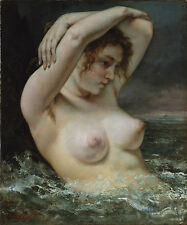 """Gustave Courbet, The Bather, Beautiful nude woman, 1868 16""""x13"""" CANVAS ART"""