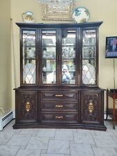 Antique Dark Brown/Quality China/Curio Cabinet/ Glass Door and shelf cabinet