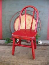 New listing Antique Wood Doll Chair Original Red Paint