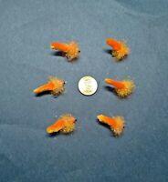 6 each Custom #10 UV Orange Bead Head Dust Mop Flies Fly Fishing Bass Trout Lure